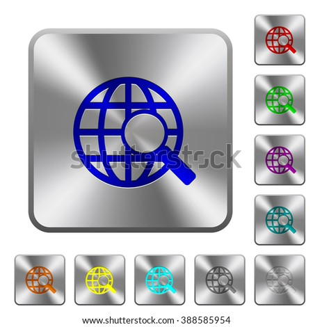 Engraved web search icons on rounded square steel buttons - stock vector