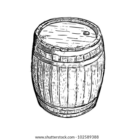 engraving barrel beer wine - stock vector