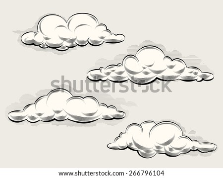 Engraving clouds. Vintage elements for art and design. Vector illustration - stock vector