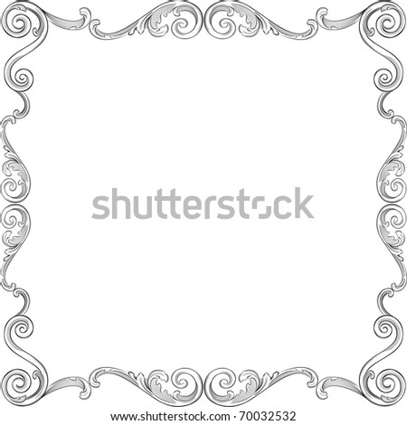 Engraving pattern of nice frame - stock vector