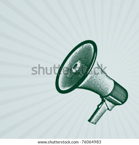 Engraving retro megaphone vectror illustration. Eps 10. - stock vector