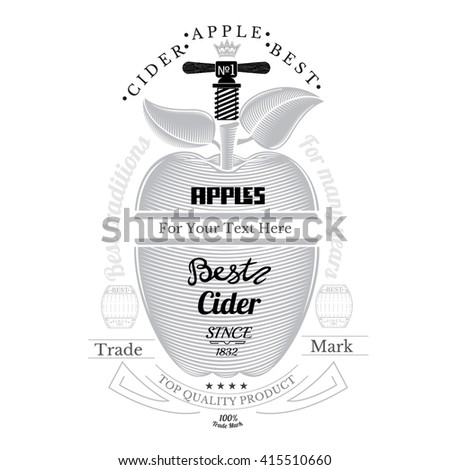 Engraving style apple with corkscrewing front. Cider label isolated on white - stock vector