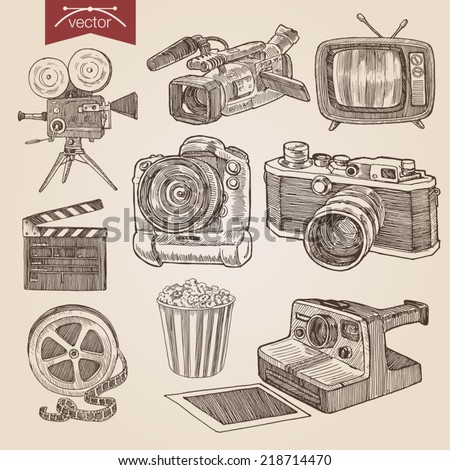 Engraving style pen pencil crosshatch hatching paper painting retro vintage vector lineart illustration photo video cinema equipment set camera camcorder tv film clapper popcorn basket professional. - stock vector
