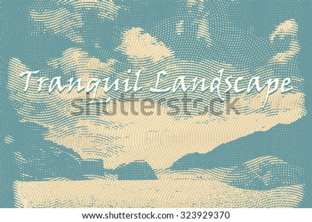 engraving style vector landscape background with place for text - stock vector