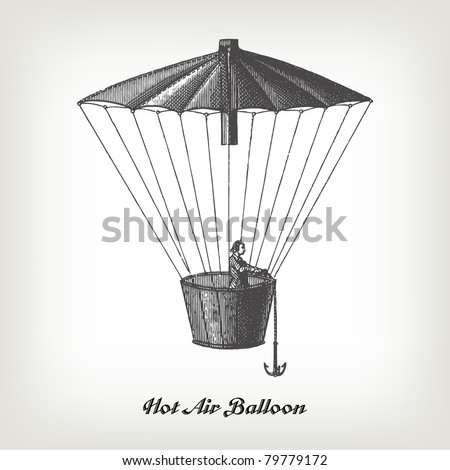 "Engraving vintage Hot air Balloon from ""The Complete encyclopedia of illustrations"" containing the original illustrations of The iconographic encyclopedia of science, literature and art, 1851. Vector."