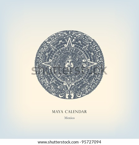 "Engraving vintage Maya calendar from ""The Complete encyclopedia of illustrations"" containing the original illustrations of The iconographic encyclopedia of science, literature and art, 1851. Vector. - stock vector"