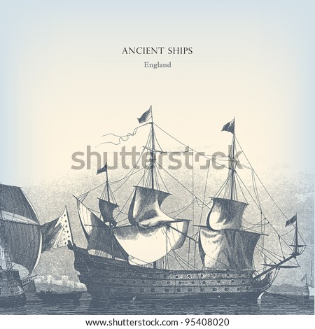 "Engraving vintage old Ships from ""The Complete encyclopedia of illustrations"" containing the original illustrations of The iconographic encyclopedia of science, literature and art, 1851. Vector. - stock vector"