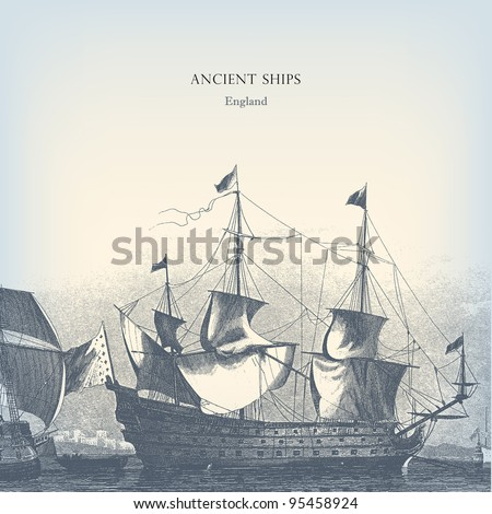 Engraving vintage old Ships illustration. - stock vector