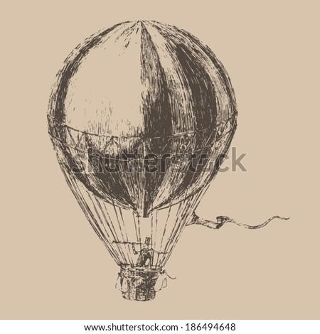 engravings airship (balloon) style, hand drawn - stock vector