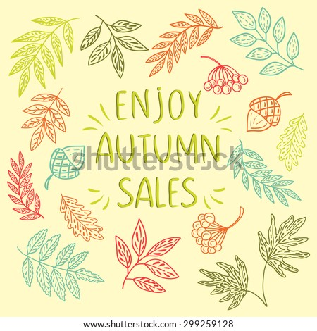 Enjoy Autumn Sales vintage banner, with hand drawn text and autumn leaf background. Sketch, design elements. Vector illustration - stock vector