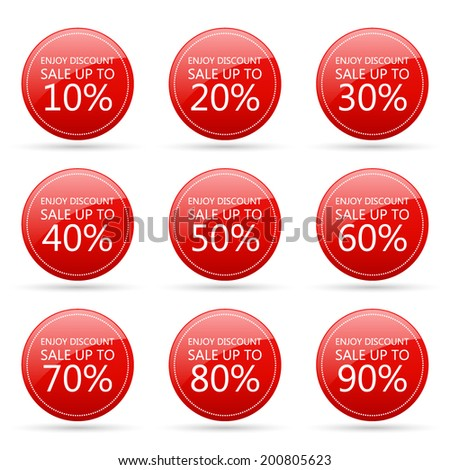 enjoy discount sale 10,20,30,40,50,60,70,80,90 percent on circle red label set (vector)