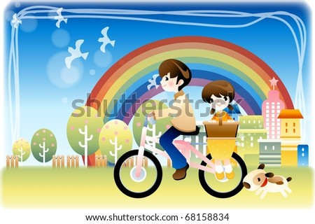 Enjoy Picnic and Happy Days background with blue sky and beautiful rainbow - cycling smiling and lovely young children with sweet lunch box in green field on spring vacation - stock vector
