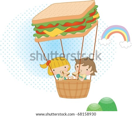 Enjoy Picnic and Happy Days - flying cute smiling young boy and lovely girl in the basket of the hot-air balloon on white background - stock vector