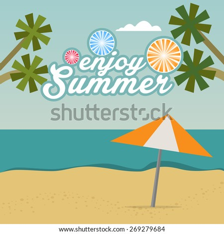 Enjoy Summer background with text.Vector illustration - stock vector