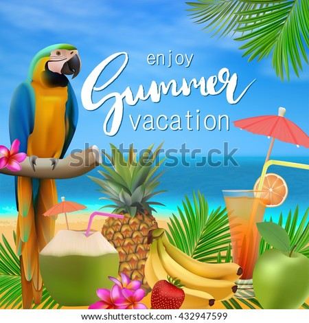 Enjoy Summer Vacation Vector Illustration Sea Blue Sky Beach Cocktails Pineapple