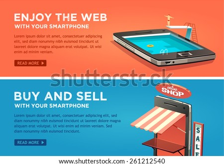 Enjoy the web with your smartphone. Buy and sell with your smartphone. Vector flat banners set. - stock vector