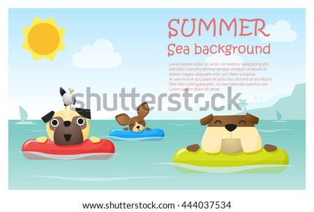 Enjoy tropical summer holiday with little dog,  vector, illustration - stock vector