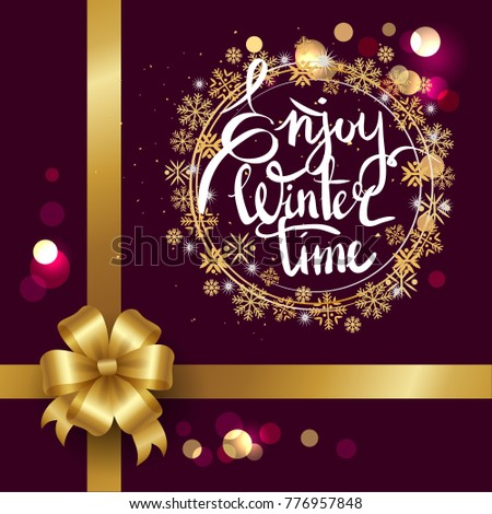 Enjoy winter time inscription written in frame made of golden snowflakes vector illustration isolated on blurred purple background decorated with bow