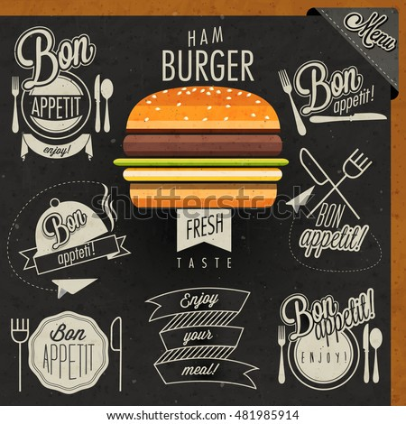 Enjoy your meal! Retro vintage style hand drawn typographic symbols for restaurant menu design. Set of Calligraphic titles and symbols. Fast food. Realistic hamburger illustration.