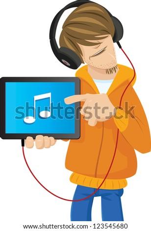 Enjoying Music on Tablet - stock vector