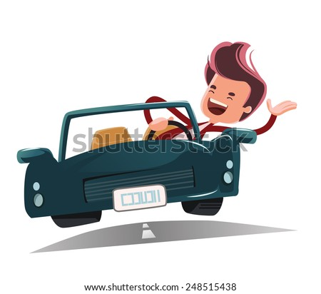 Enjoying the ride vector illustration cartoon character - stock vector