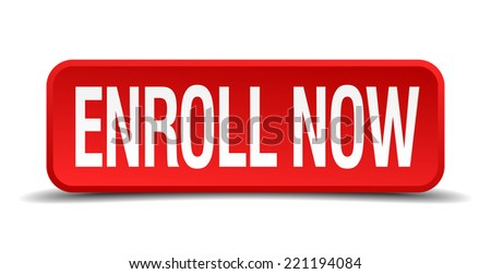 Enroll now red 3d square button isolated on white background - stock vector