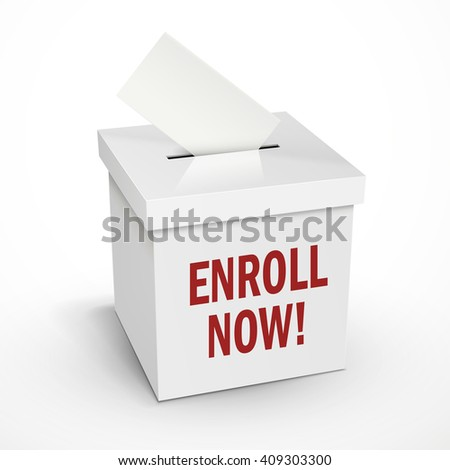enroll now words on the 3d illustration white voting box isolated on white background - stock vector