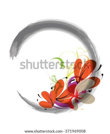 Enso is a sign of a calligraphic symbol of  Zen - Buddhism - stock vector