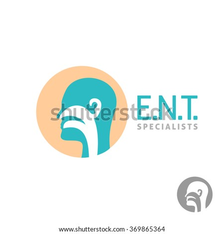 ENT logo template. Head silhouette sign for ear, nose, throat doctor specialists. - stock vector
