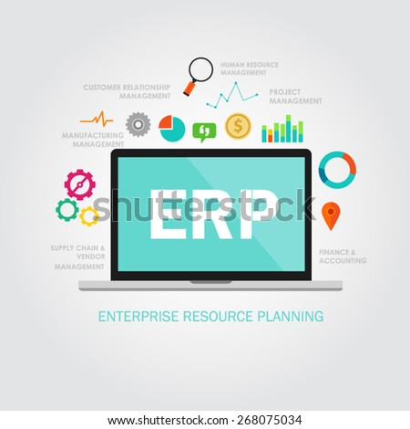 enterprise resource planning illustration vector flat - stock vector