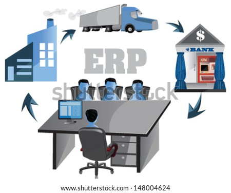 Enterprise resource planning is to automate business. ERP can maintain record and access the entire transaction of a large or small business. It is considered as the back bone of successful business. - stock vector