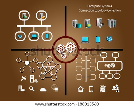 Enterprise systems and network topology symbol collection and technology infographics - stock vector