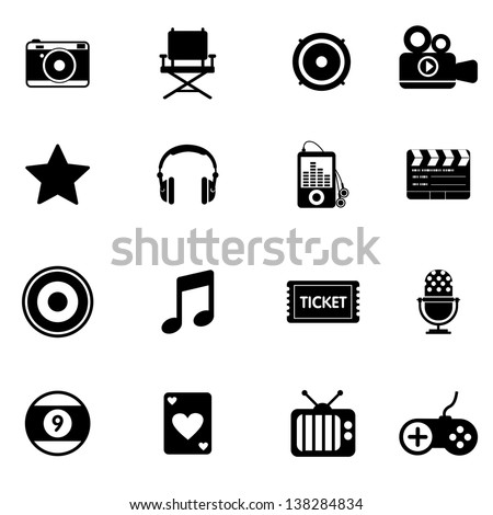 Entertainment and movie icons - stock vector