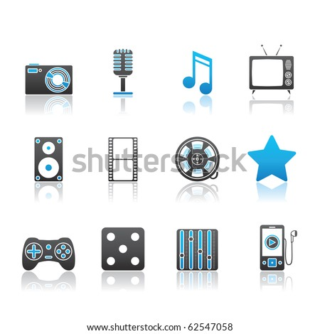 Entertainment and Multimedia icon set 7 - Blue Series.  Vector EPS 8 format, easy to edit. - stock vector