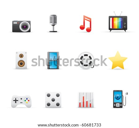 Entertainment and Multimedia icon set 7 - Glossy Series.  Vector EPS 8 format, easy to edit. - stock vector