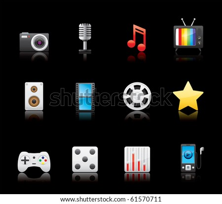 Entertainment and Multimedia icon set 7 - Glossy Series.  Vector EPS8 format, easy to edit.