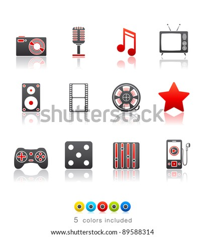 Entertainment and Multimedia icon set 7 - Multi Color Series.  Icon set in EPS 8 format with high resolution JPEG EPS file contains five color variations in different layers - stock vector