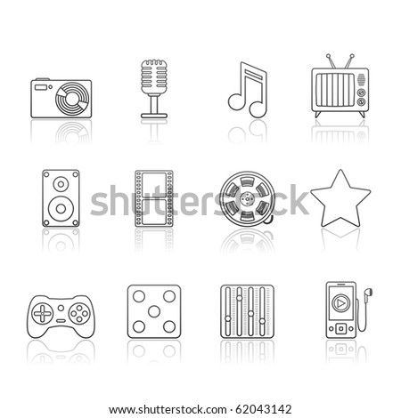 Entertainment and Multimedia icon set 7 - Strokes Series.  Vector EPS 8 format, easy to edit. - stock vector