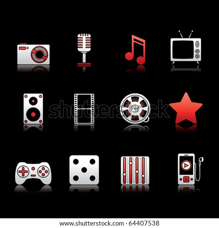 Entertainment and Multimedia icon set 7 - White and Red Series.  Vector EPS 8 format, easy to edit. - stock vector