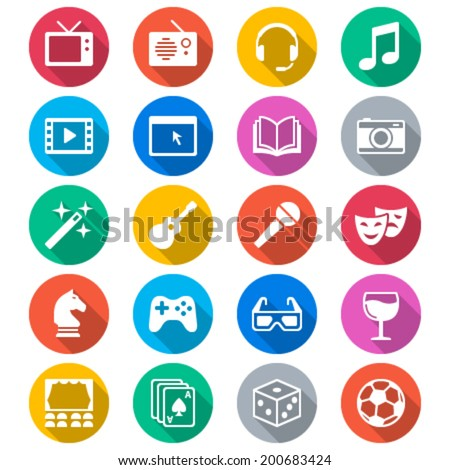 Entertainment flat color icons - stock vector