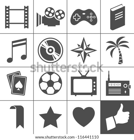 Entertainment icon set. Simplus series. Each icon is a single object (compound path) - stock vector