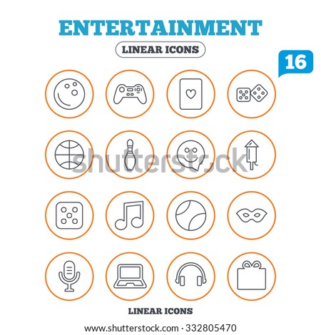Entertainment icons. Game console joystick, notebook and microphone symbols. Poker playing card, dice and mask thin outline signs. Musical note and smile in speech bubble. Circle buttons on white. - stock vector