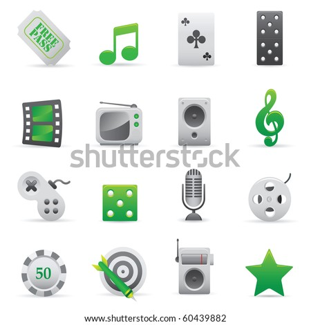 Entertainment Icons | Green02   Professional set for your website, application, or presentation - stock vector