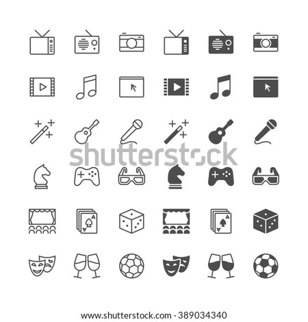 Entertainment icons, included normal and enable state. - stock vector