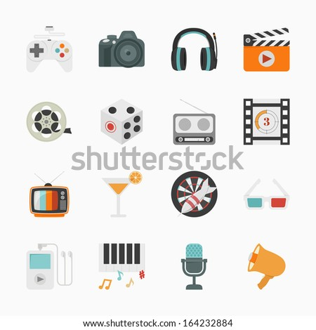 Entertainment Icons with White Background , eps10 vector format - stock vector
