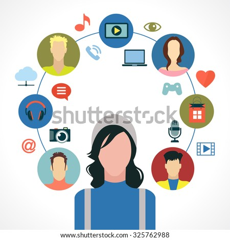 Entertainment in the global computer network. Icon man surrounded by icons of social media entertainment, avatars. Infographic background - stock vector