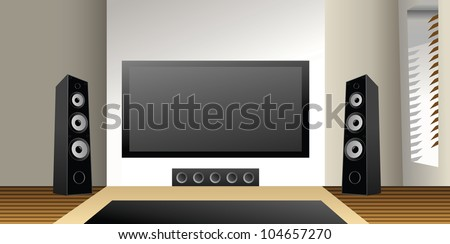 Entertainment room with big plasma screen. - stock vector
