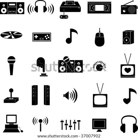 entertainment technology icons set - stock vector