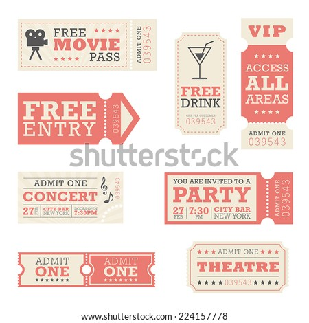 Entertainment Tickets  - stock vector