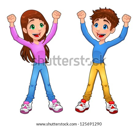 Enthusiast boy and girl. Cartoon and vector isolated character - stock vector